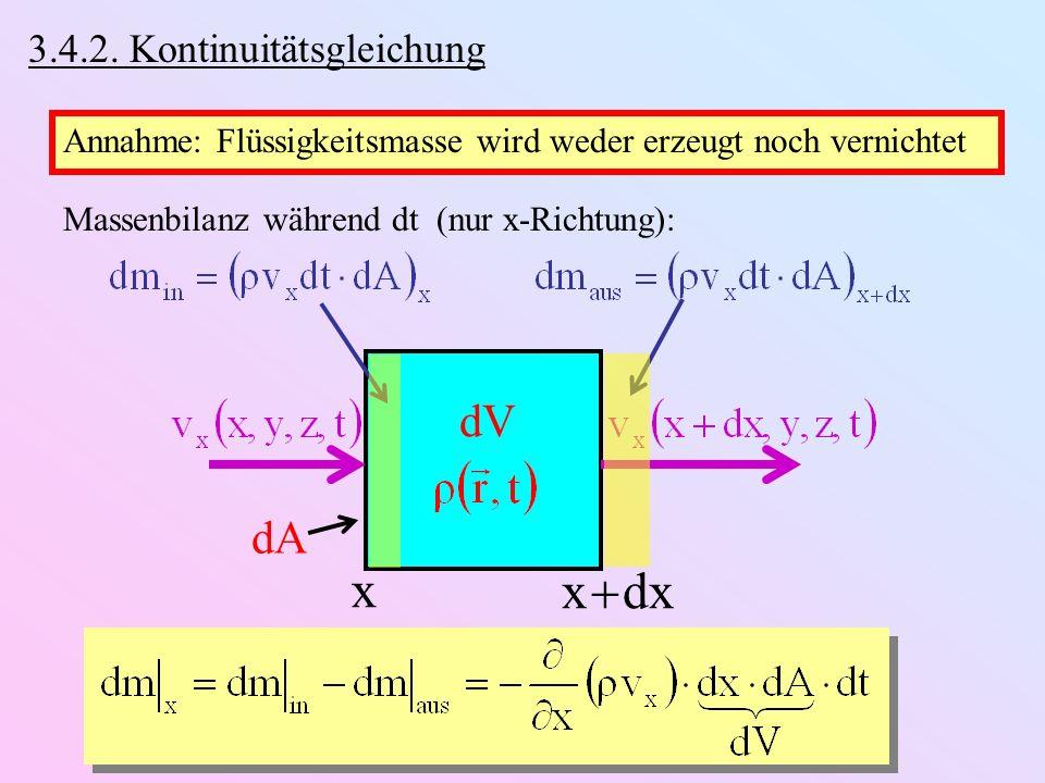 x x  dx dV dA 3.4.2. Kontinuitätsgleichung