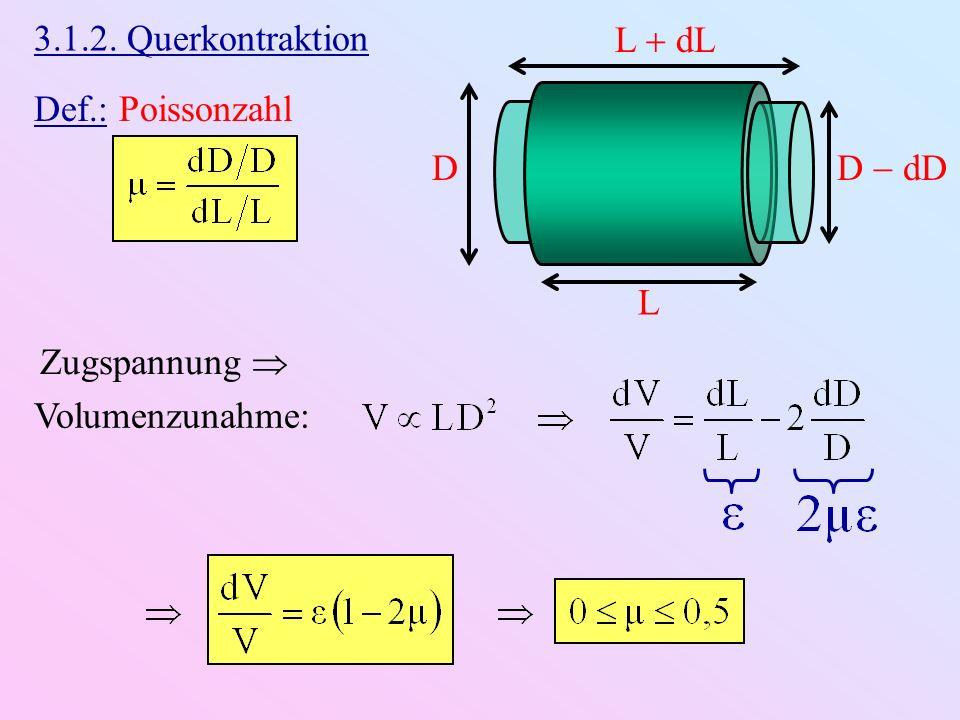 3.1.2. Querkontraktion L  dL Def.: Poissonzahl D D  dD L Volumenzunahme: Zugspannung 