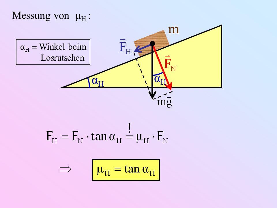 Messung von μH : αH m αH  Winkel beim Losrutschen !