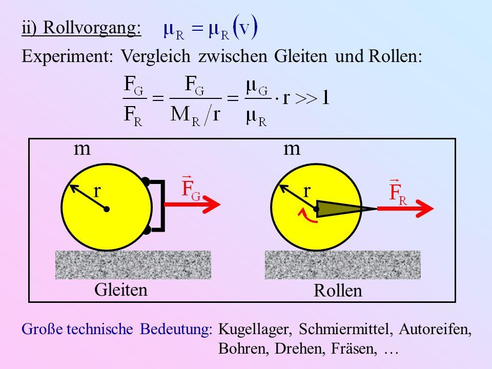 ii) Rollvorgang:Experiment: Vergleich zwischen Gleiten und Rollen: m. r. Gleiten. Rollen.