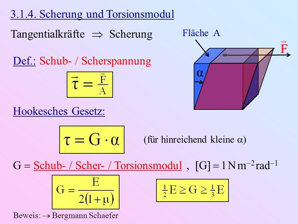 α 3.1.4. Scherung und Torsionsmodul Tangentialkräfte  Scherung