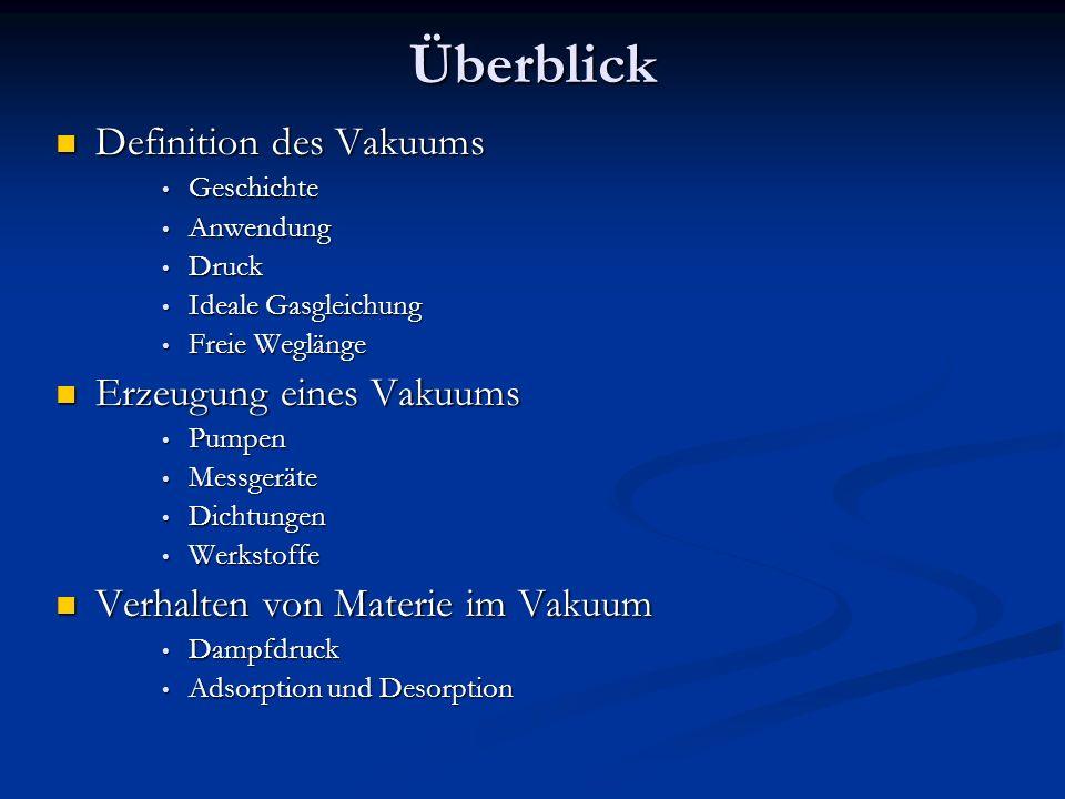 Überblick Definition des Vakuums Erzeugung eines Vakuums