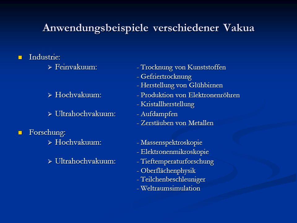 Anwendungsbeispiele verschiedener Vakua