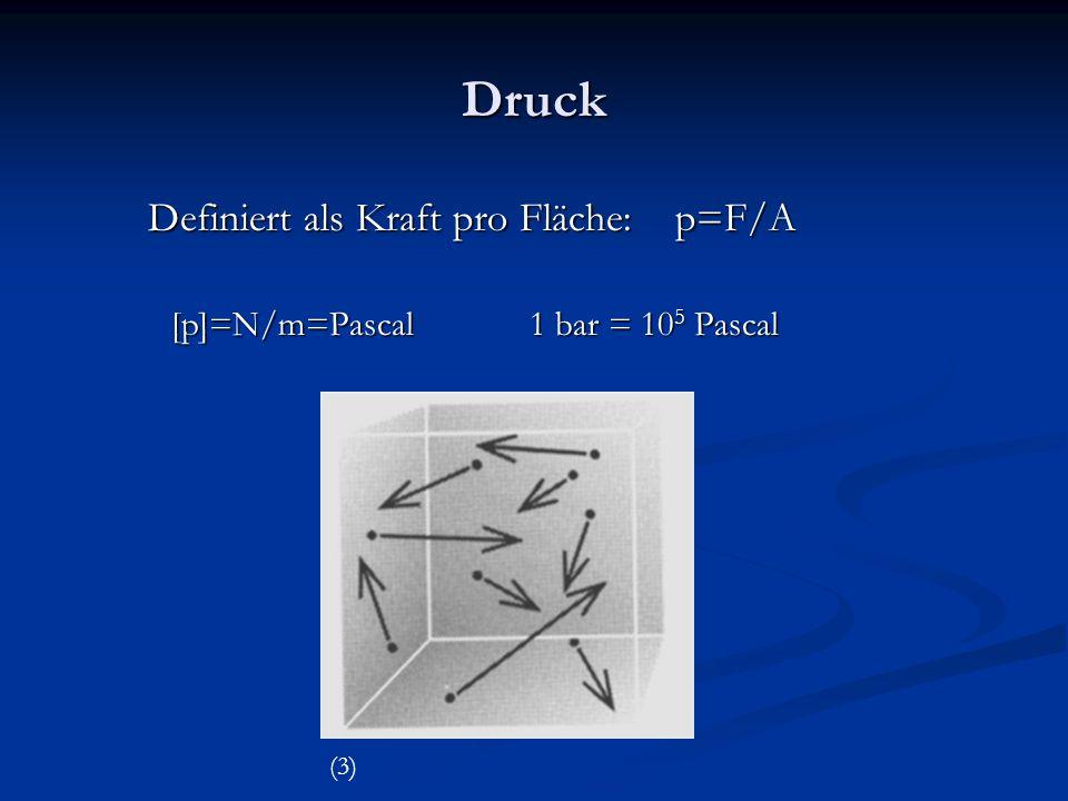 Druck Definiert als Kraft pro Fläche: p=F/A