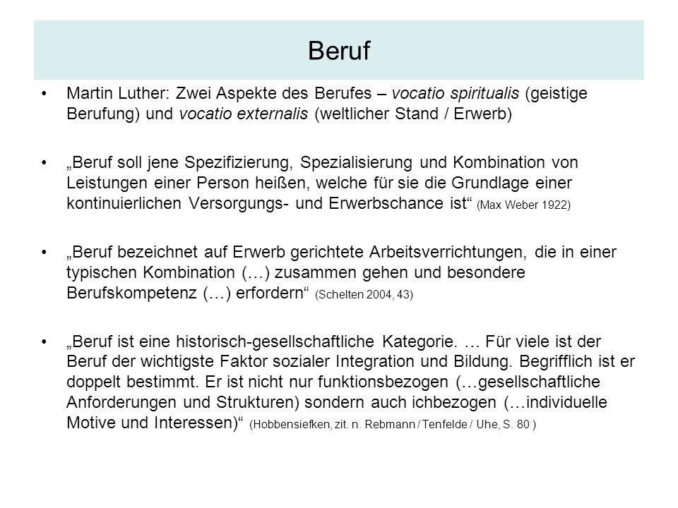 Beruf Martin Luther: Zwei Aspekte des Berufes – vocatio spiritualis (geistige Berufung) und vocatio externalis (weltlicher Stand / Erwerb)