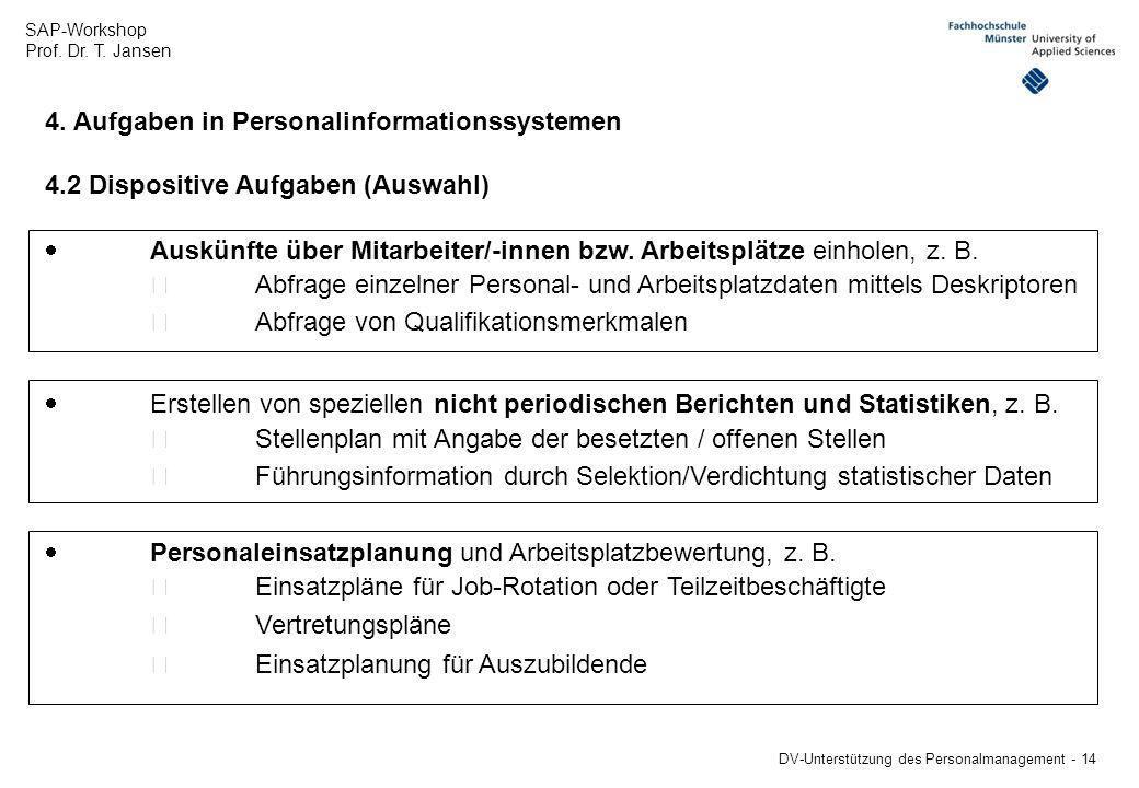 4. Aufgaben in Personalinformationssystemen