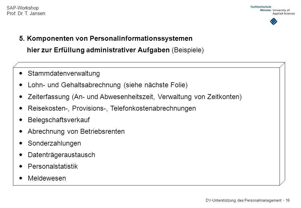 5. Komponenten von Personalinformationssystemen