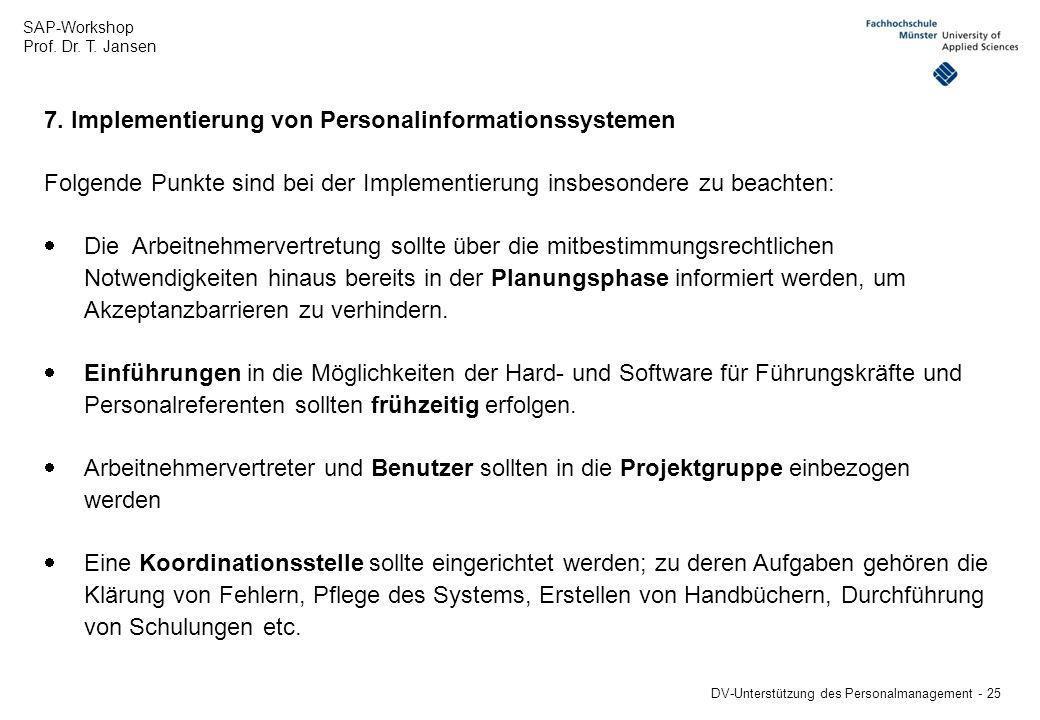7. Implementierung von Personalinformationssystemen