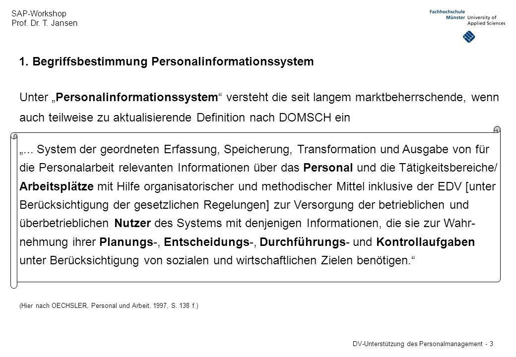 1. Begriffsbestimmung Personalinformationssystem