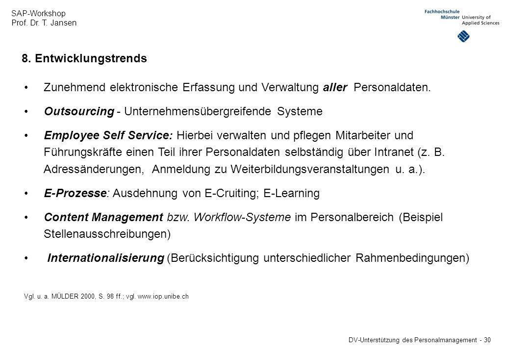 Zunehmend elektronische Erfassung und Verwaltung aller Personaldaten.