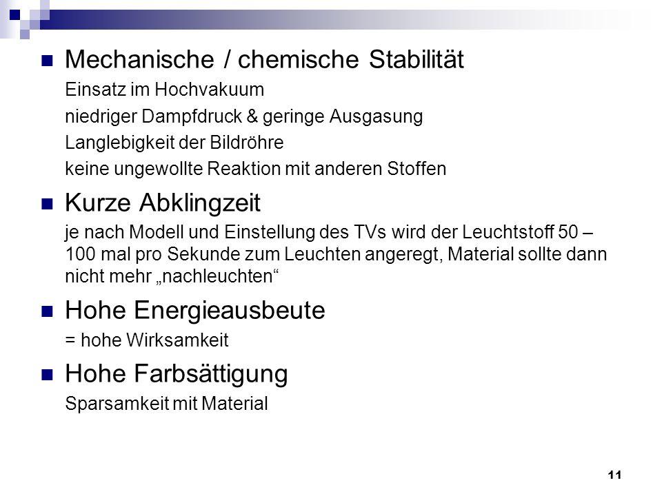 Mechanische / chemische Stabilität