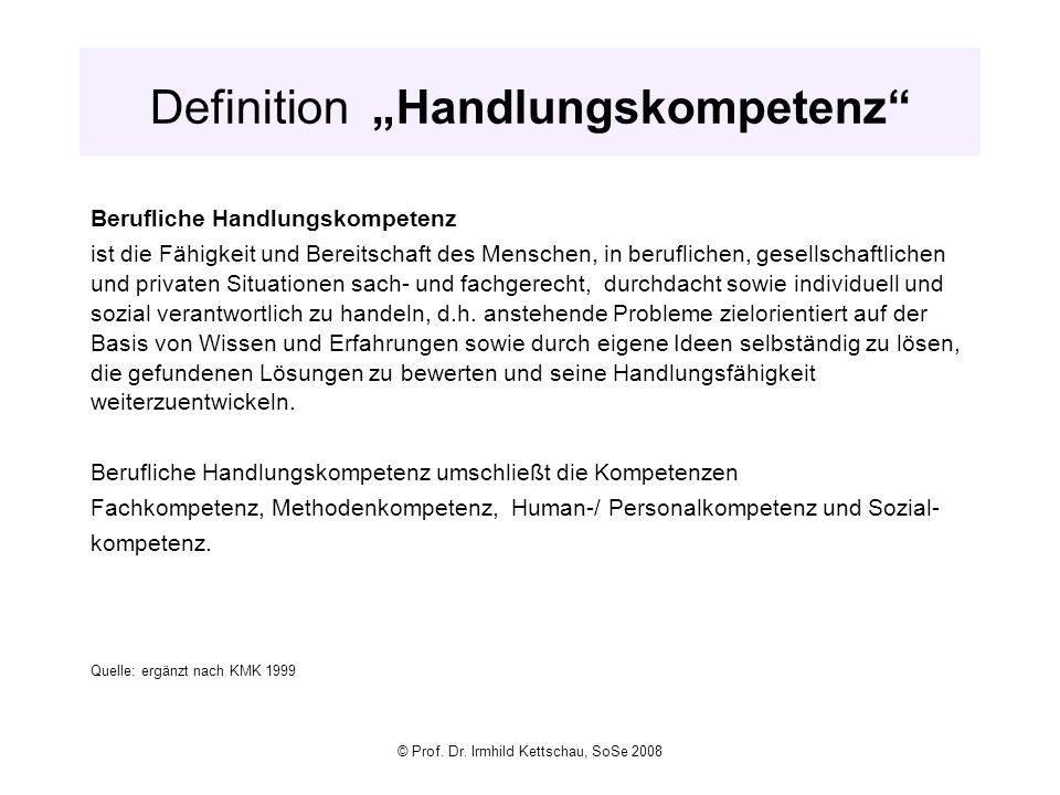 "Definition ""Handlungskompetenz"