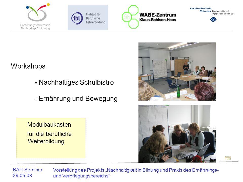 Modulbaukasten Workshops - Nachhaltiges Schulbistro