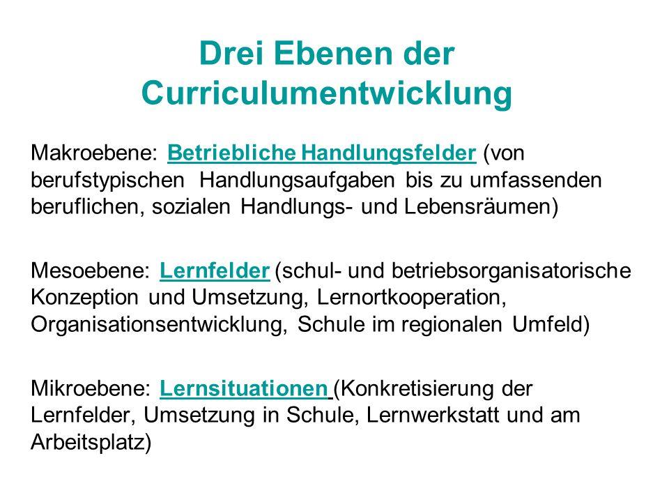 Drei Ebenen der Curriculumentwicklung