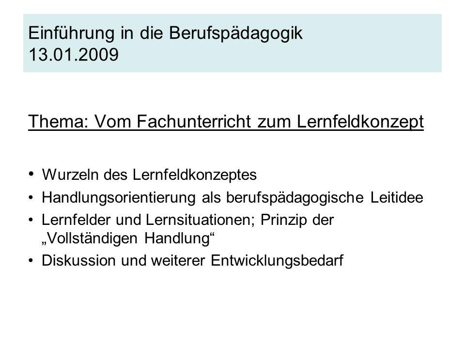 Einführung in die Berufspädagogik 13.01.2009