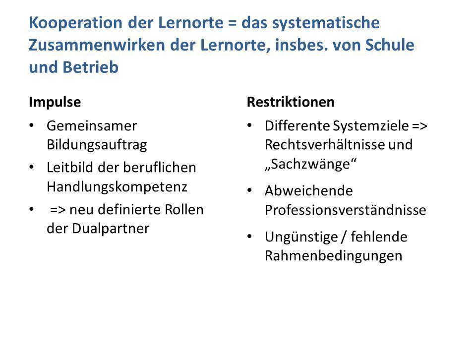 Kooperation der Lernorte = das systematische Zusammenwirken der Lernorte, insbes. von Schule und Betrieb