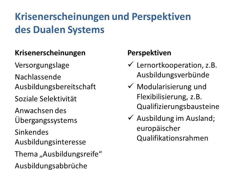 Krisenerscheinungen und Perspektiven des Dualen Systems