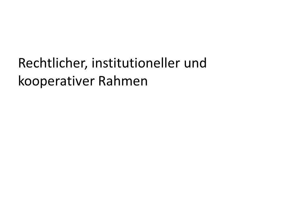 Rechtlicher, institutioneller und kooperativer Rahmen