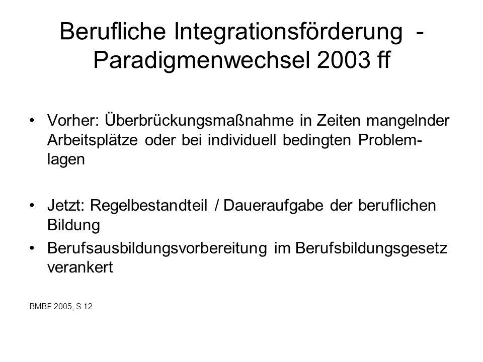 Berufliche Integrationsförderung - Paradigmenwechsel 2003 ff