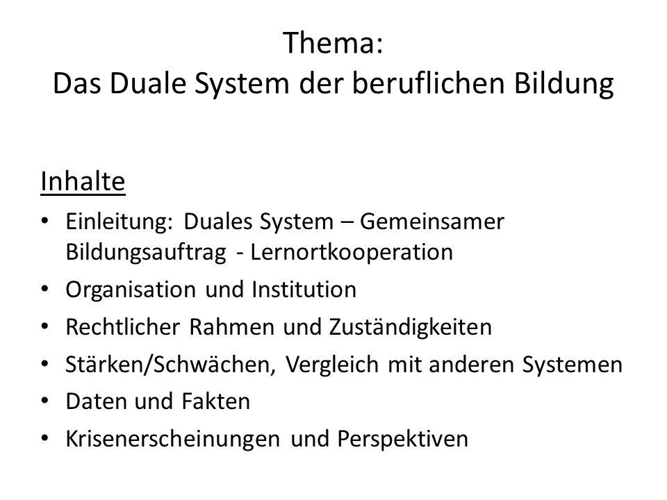 Thema: Das Duale System der beruflichen Bildung