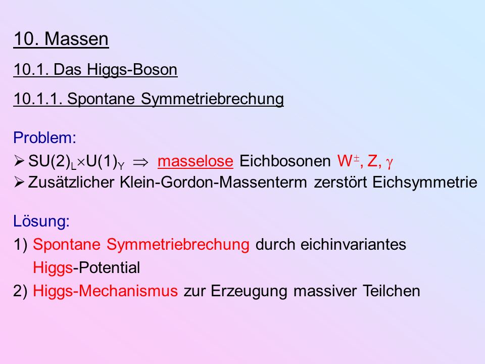 10. Massen 10.1. Das Higgs-Boson 10.1.1. Spontane Symmetriebrechung