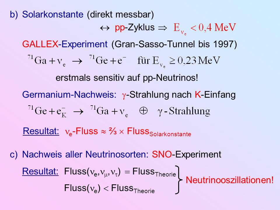 Solarkonstante (direkt messbar)  pp-Zyklus 