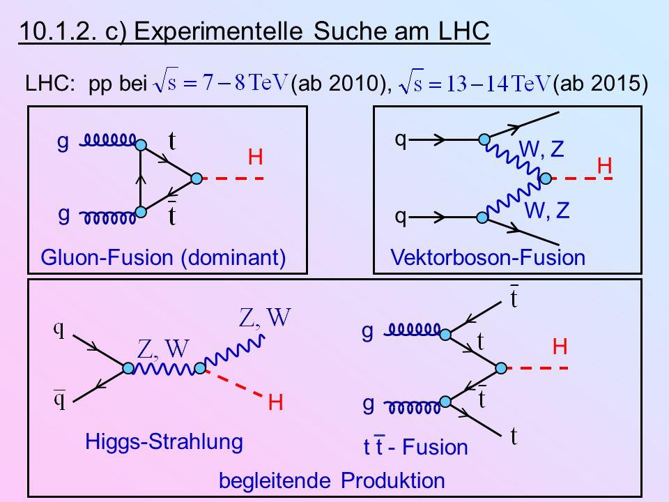 10.1.2. c) Experimentelle Suche am LHC