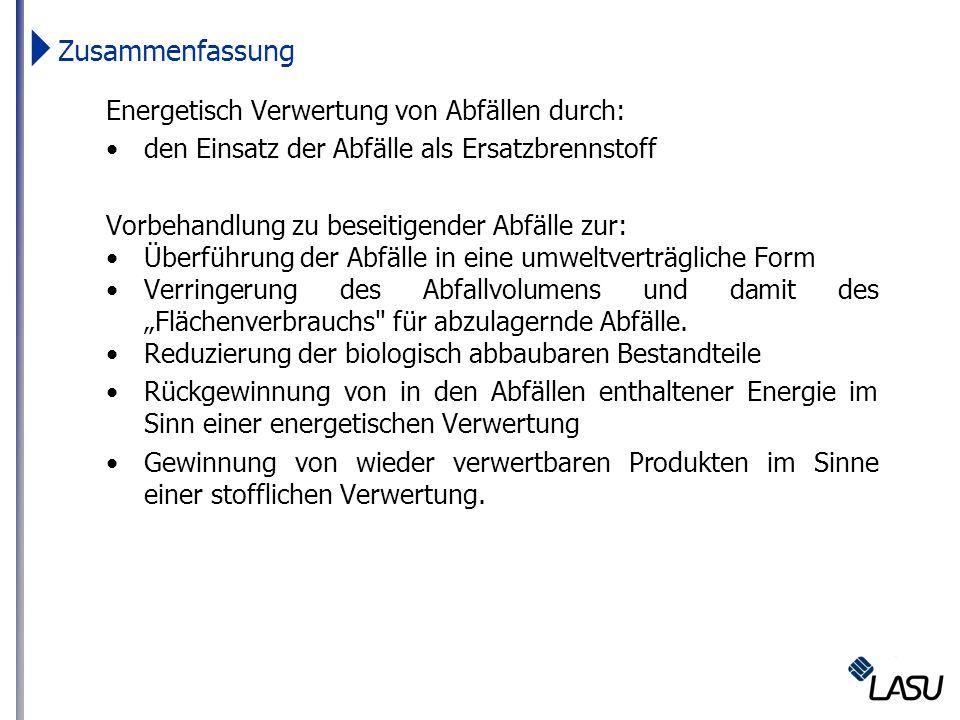 Zusammenfassung Energetisch Verwertung von Abfällen durch: