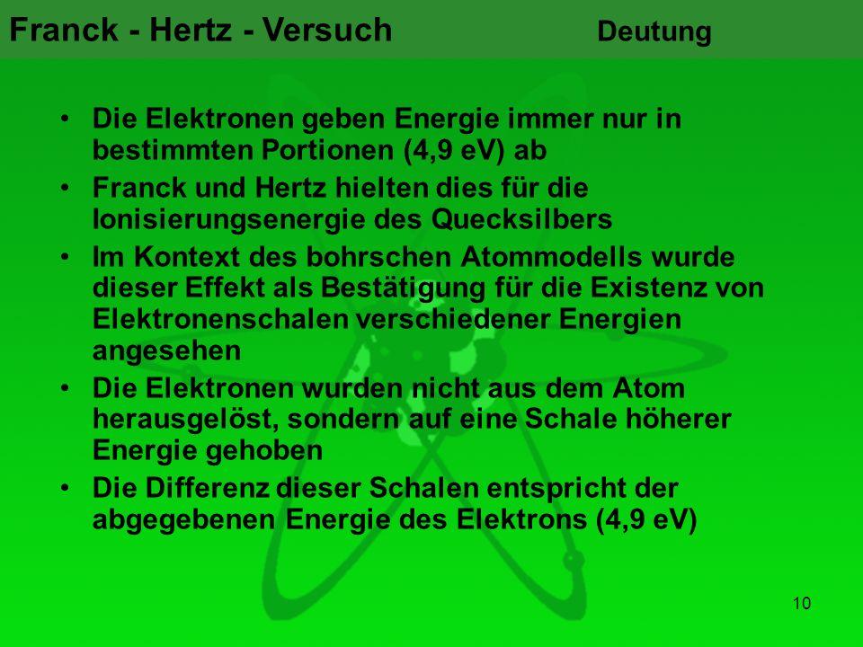 Deutung Die Elektronen geben Energie immer nur in bestimmten Portionen (4,9 eV) ab.