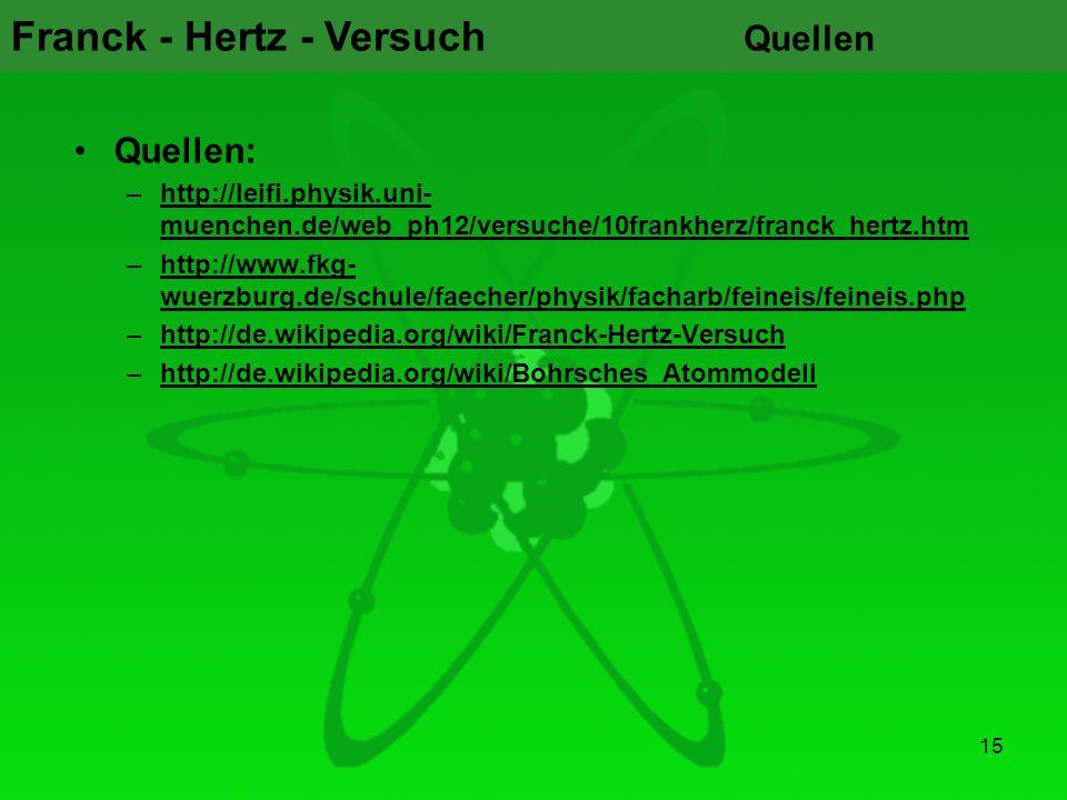 Quellen Quellen: http://leifi.physik.uni-muenchen.de/web_ph12/versuche/10frankherz/franck_hertz.htm.