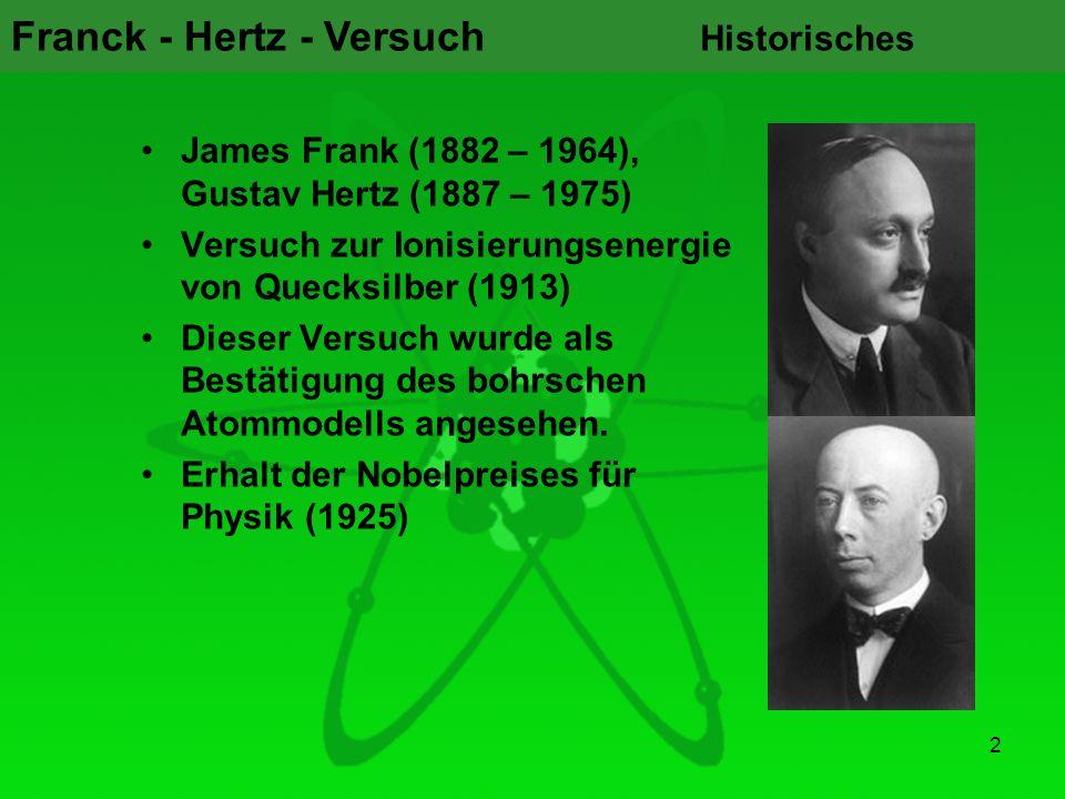 Historisches James Frank (1882 – 1964), Gustav Hertz (1887 – 1975) Versuch zur Ionisierungsenergie von Quecksilber (1913)