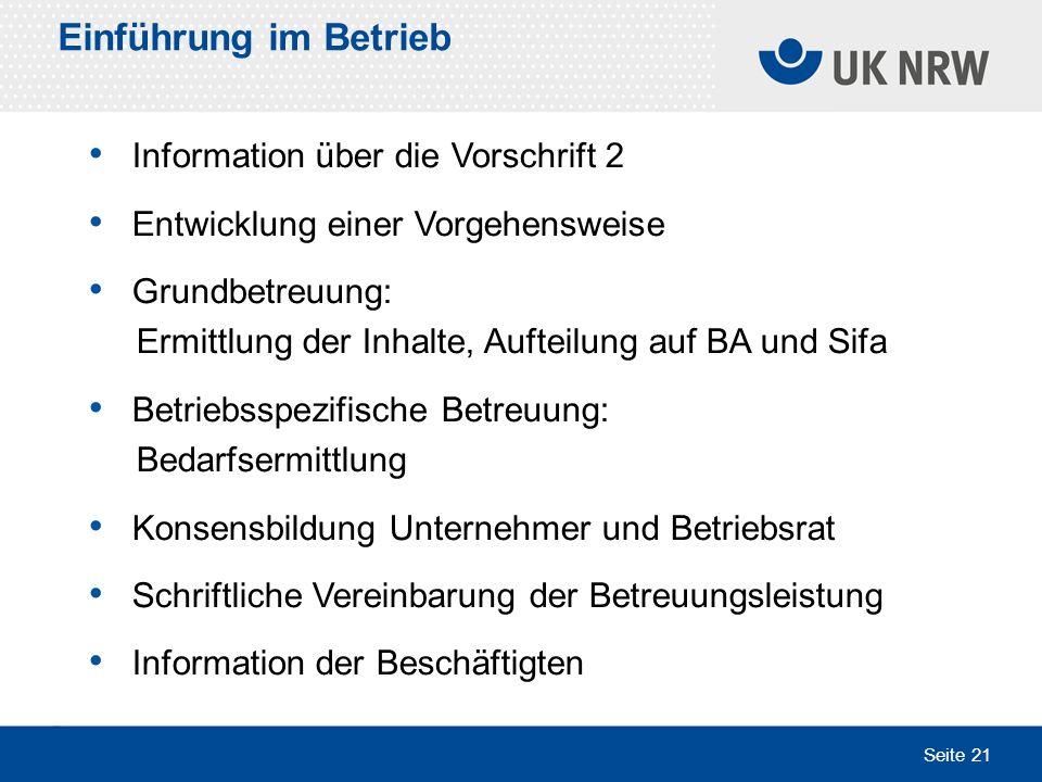 Einführung im Betrieb Information über die Vorschrift 2