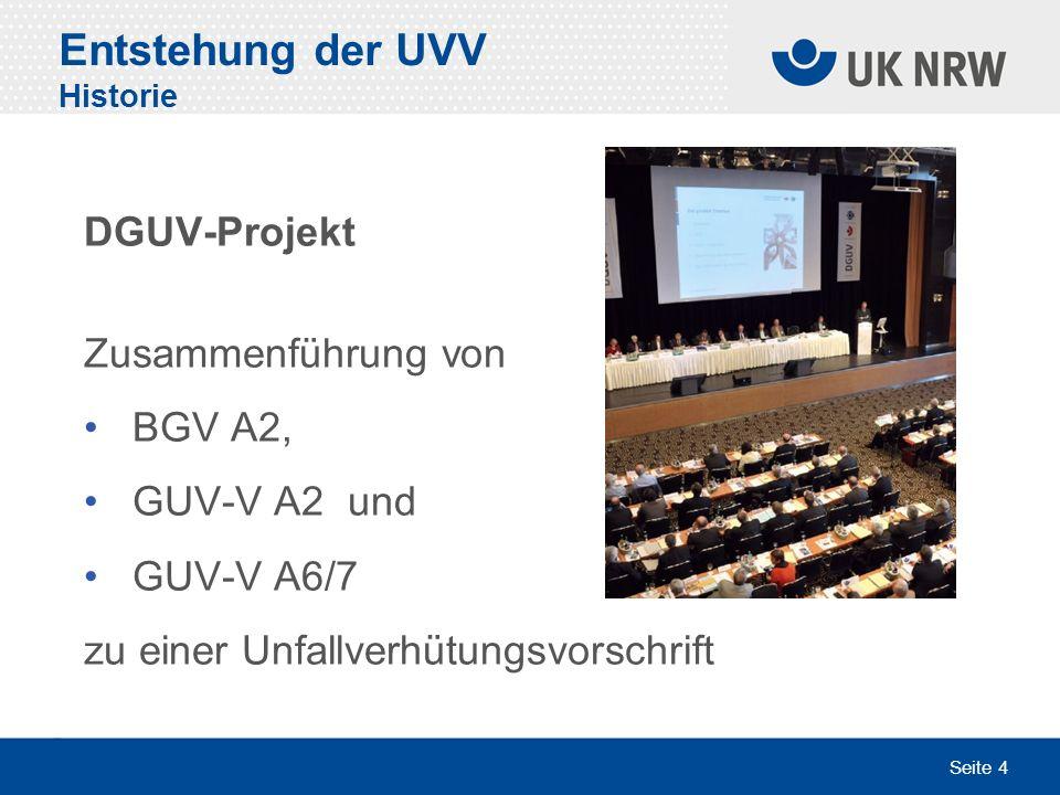 Entstehung der UVV Historie