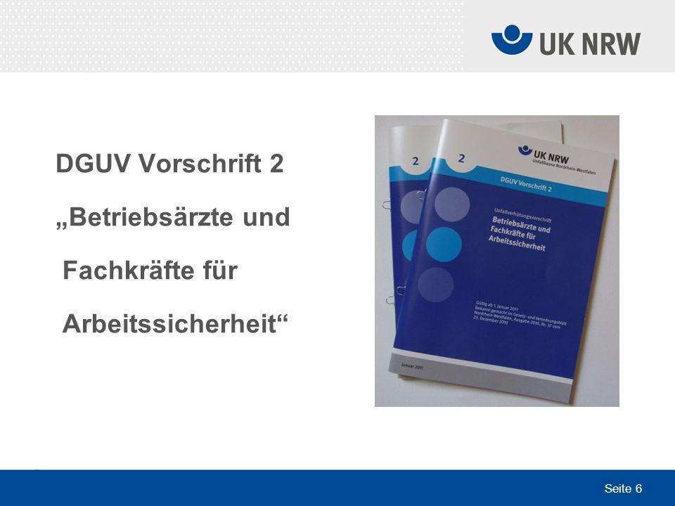 """DGUV Vorschrift 2 """"Betriebsärzte und Fachkräfte für Arbeitssicherheit"""