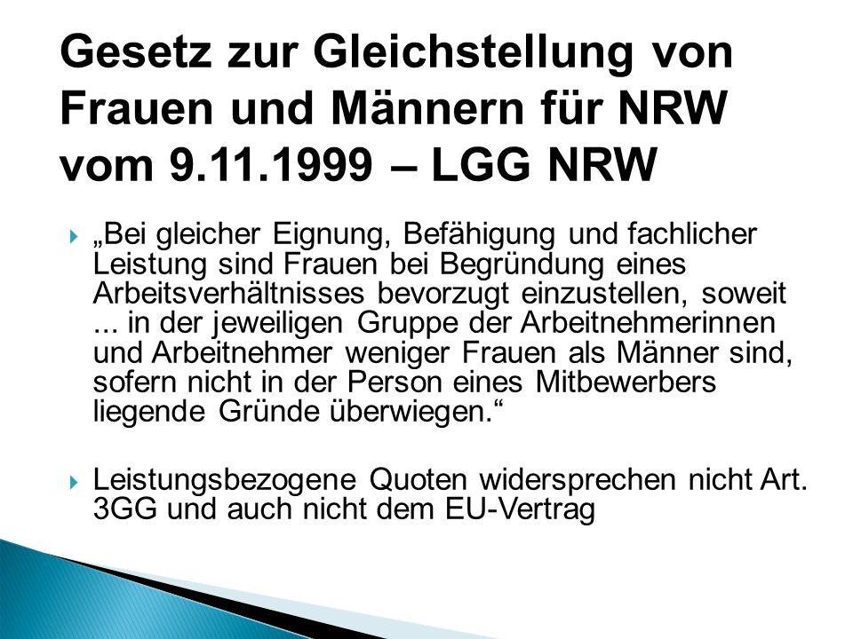 Gesetz zur Gleichstellung von Frauen und Männern für NRW