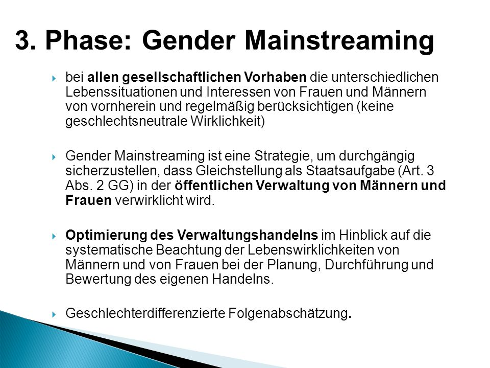 3. Phase: Gender Mainstreaming