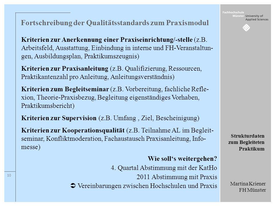 Fortschreibung der Qualitätsstandards zum Praxismodul