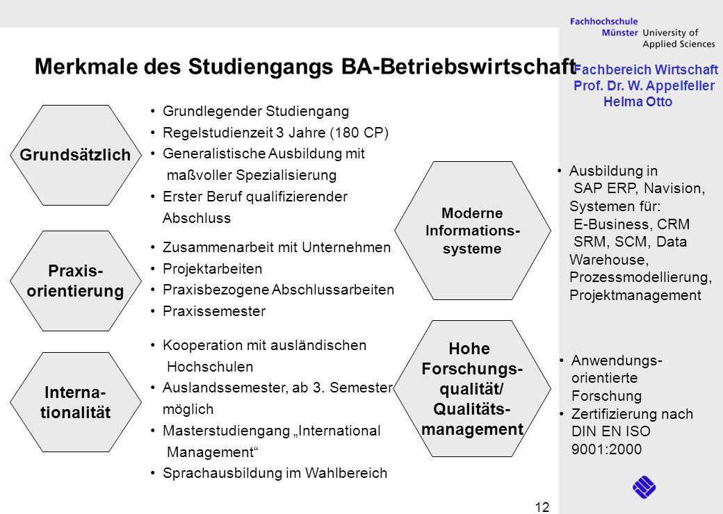 Merkmale des Studiengangs BA-Betriebswirtschaft