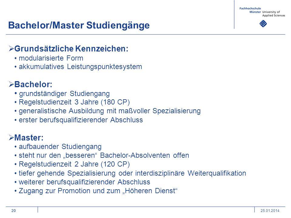 Bachelor/Master Studiengänge