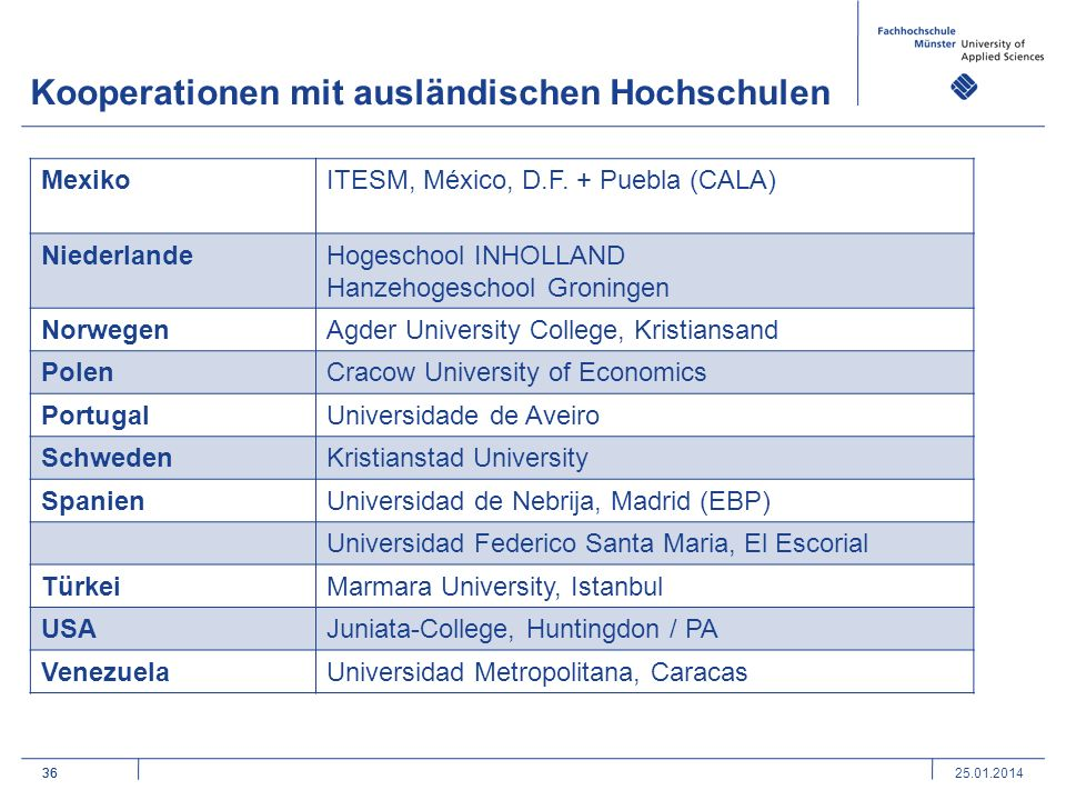 Kooperationen mit ausländischen Hochschulen