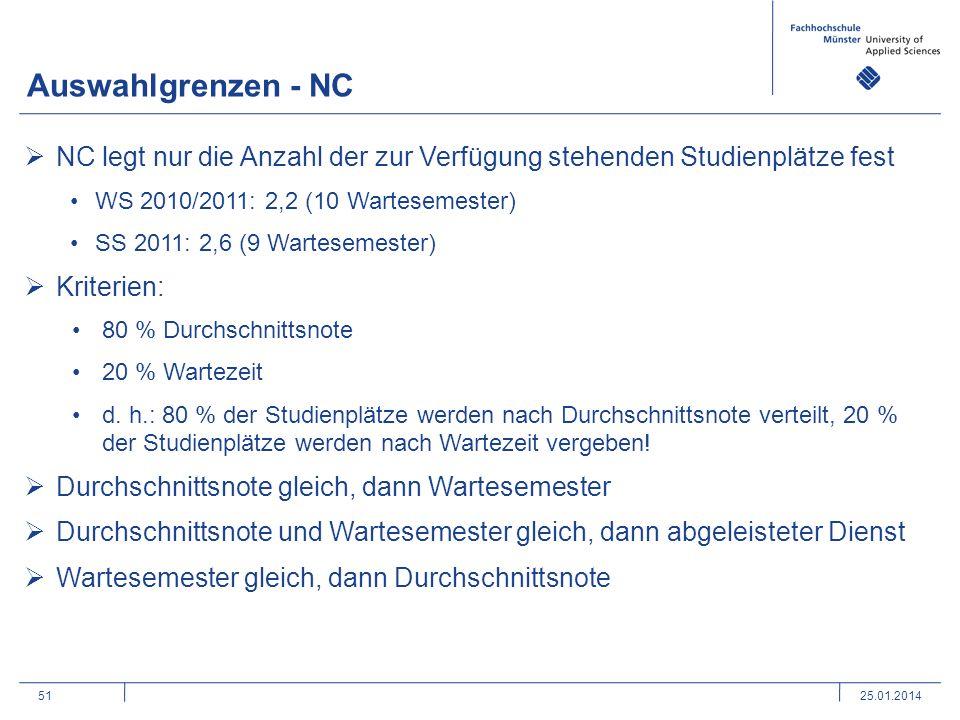 Auswahlgrenzen - NC NC legt nur die Anzahl der zur Verfügung stehenden Studienplätze fest. WS 2010/2011: 2,2 (10 Wartesemester)