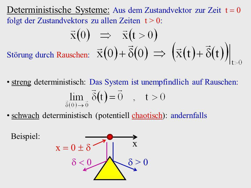 Deterministische Systeme: Aus dem Zustandvektor zur Zeit t  0 folgt der Zustandvektors zu allen Zeiten t > 0:
