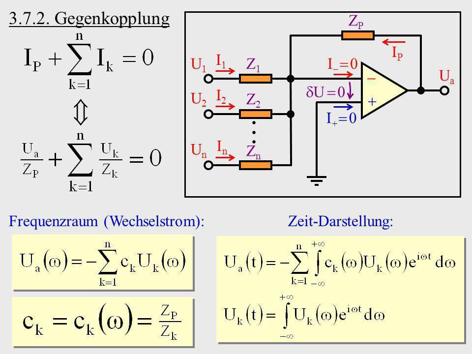  3.7.2. Gegenkopplung   Ua I  0 I  0 ZP Z1 Z2 Zn I1 I2 In