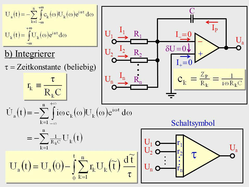  b) Integrierer   Ua I  0 I  0 C R1 R2 Rn I1 I2 In U  0 U1 U2