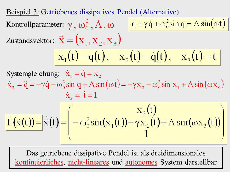 Beispiel 3: Getriebenes dissipatives Pendel (Alternative)