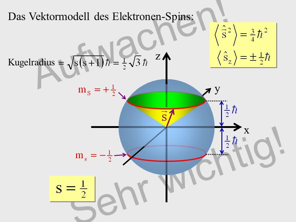 Aufwachen! Sehr wichtig! Das Vektormodell des Elektronen-Spins: z y x