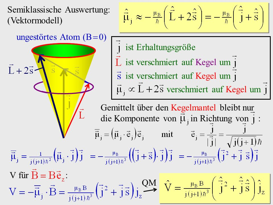 Semiklassische Auswertung: (Vektormodell)