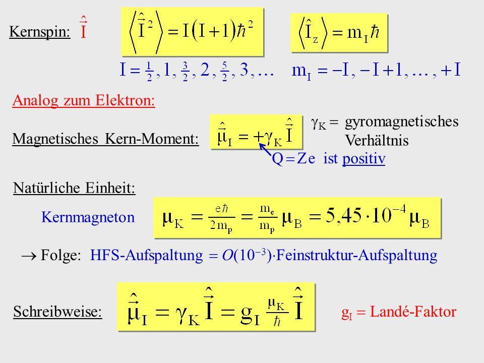 Kernspin: Analog zum Elektron: Magnetisches Kern-Moment: K  gyromagnetisches Verhältnis. Q  Z e ist positiv.