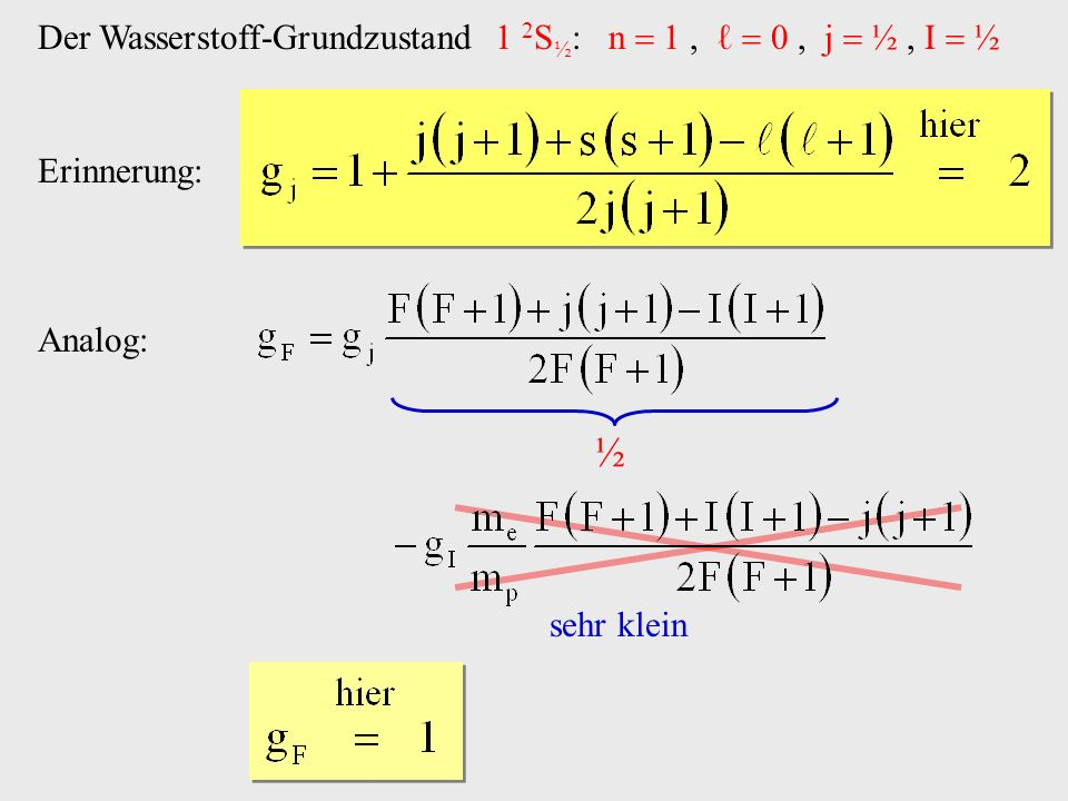 ½ Der Wasserstoff-Grundzustand 1 2S½: n  1 , ℓ  0 , j  ½ , I  ½