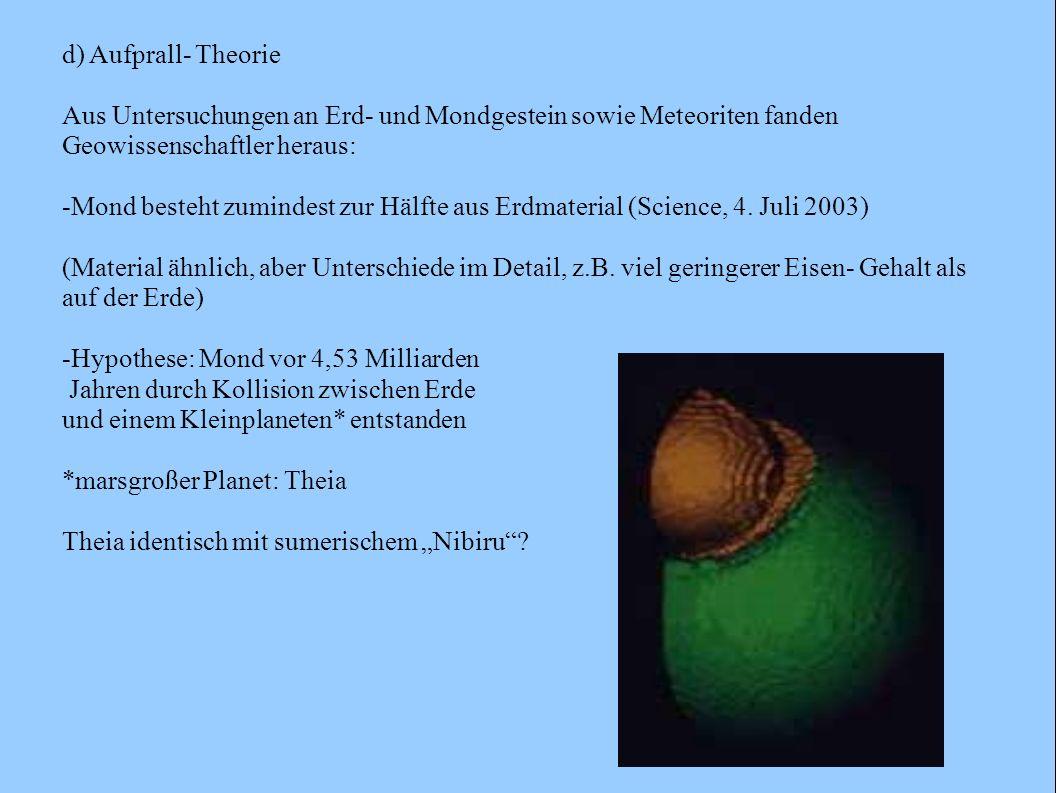 d) Aufprall- Theorie Aus Untersuchungen an Erd- und Mondgestein sowie Meteoriten fanden Geowissenschaftler heraus: